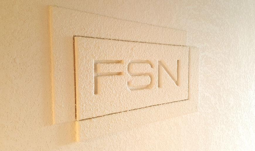 Logotyp FSN gjord med Fibrite